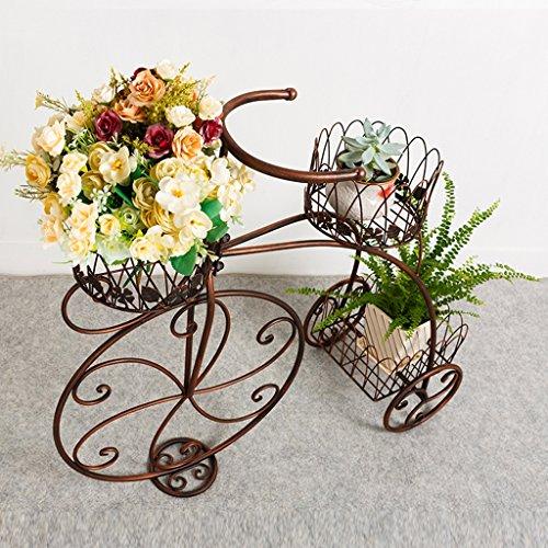 Porte-fleurs en métal Présentoir d'usine Salon à plusieurs étages Balcon Pot de jardin extérieur en pot Blanc ( Couleur : Brass )