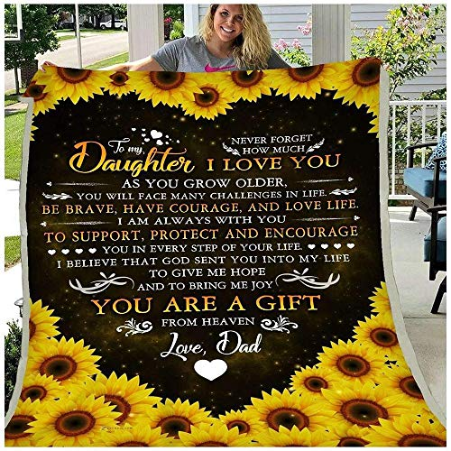 HNO Store to My Daughter You are A Gift from Heaven Dad Letter Heart Sunflower Style Fleece Blanket, Sofa Blanket, Bedding Blanket (60x80in)