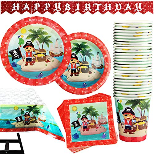 Kompanion Set de 102 Piezas Plato de Pirata para Fiestas Inc