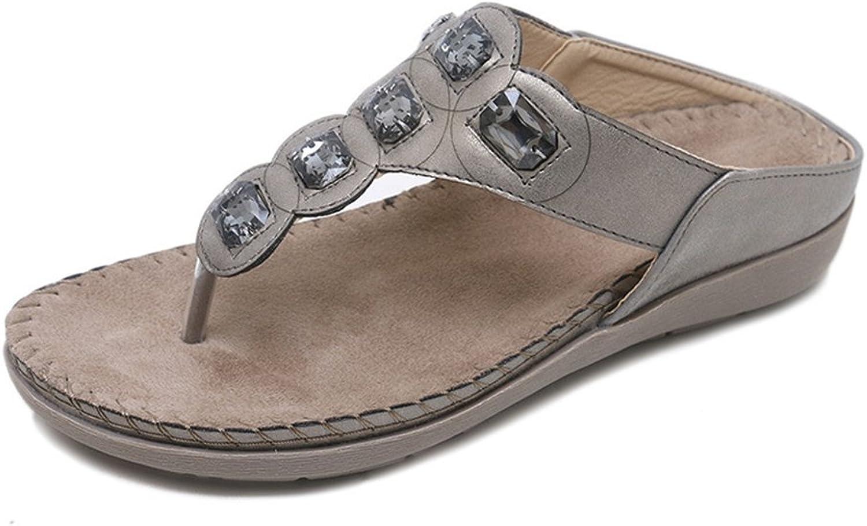 Pit4tk Summer shoes Women Bohemia Flip Flops Flat Sandals Woman Casual Comfortable Plus Size Wedge Sandals