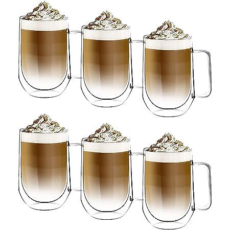 [6-Pack,350ml] DESIGN•MASTER - Première qualité - Verre isolant à double paroi, Tasse à café ou à thé, Verre thermo-isolant, Parfait pour Latte, Cappuccino, Americano, Thé et Boissons.