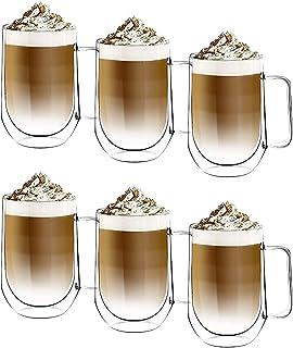 [6-Pack,350ml/12 onces] DESIGN•MASTER - Première qualité - Verre isolant à double paroi, Tasse à café ou à thé, Verre ther...