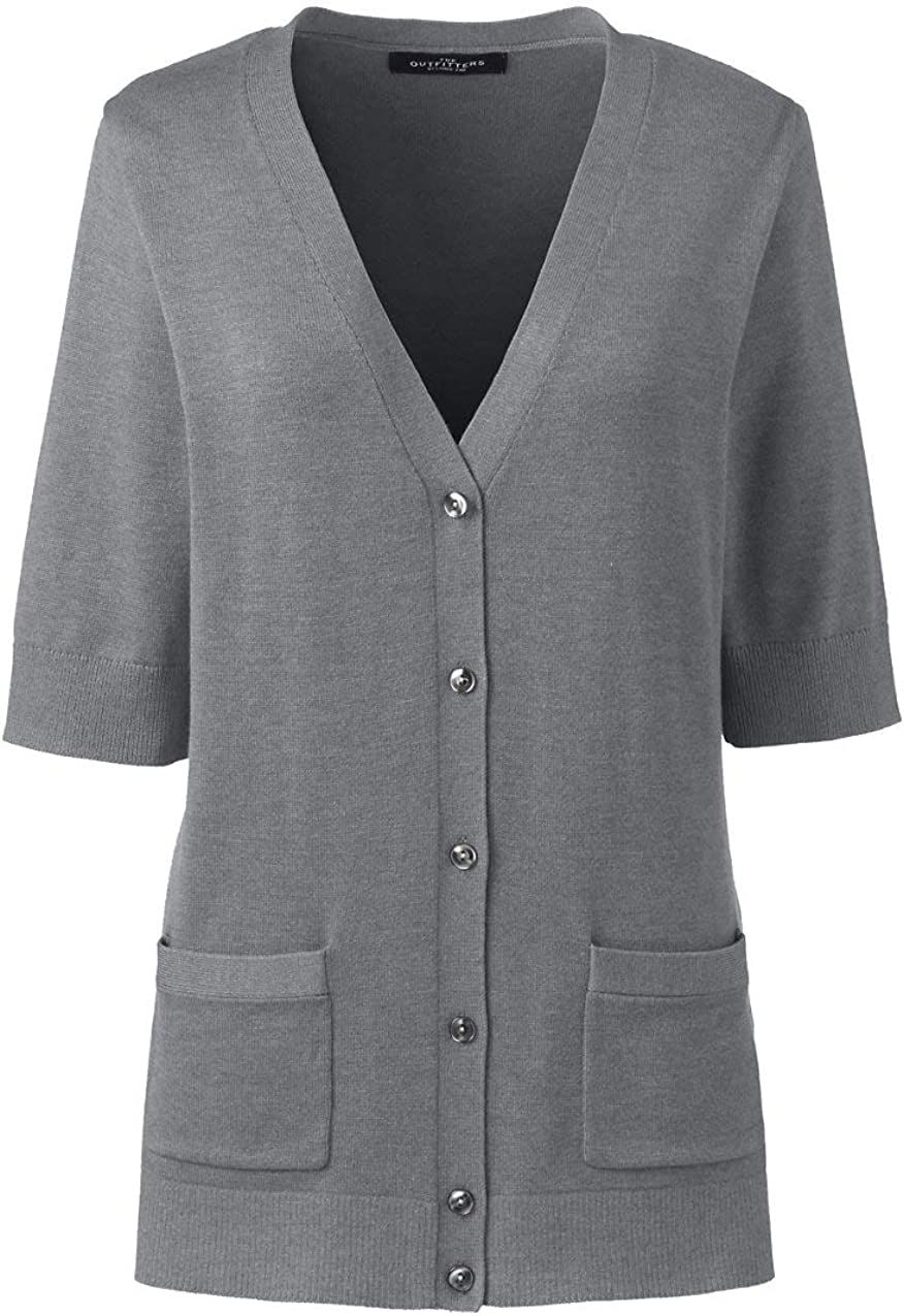 Lands' End Women's Cotton Modal Half Sleeve V-Neck Cardigan