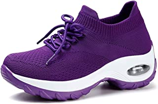 STQ Slip On Breathe Mesh Walking Shoes Women Fashion Sneakers Comfort Wedge Platform Loafers