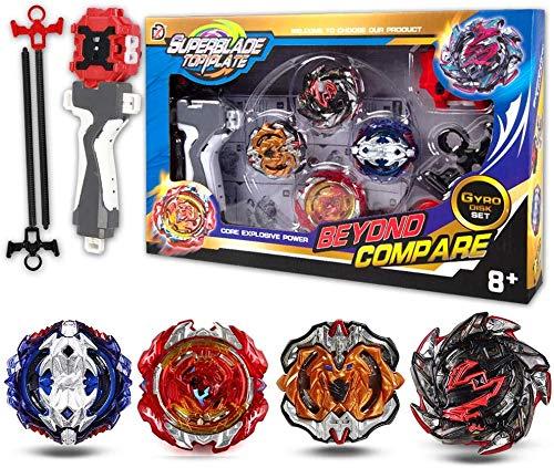 infinitoo New Toupie Burst avec Launcher Gyro métal Combat| Battle Set Jouets Classiques pour Enfants Adulte (4 pcs)