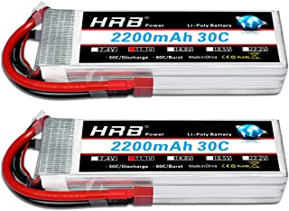 HRB 2PCS 11.1V 2200mAh 3S 30C Batería de lipo con Deans T Plug para RC Car Boat Truck Heli Airplane Quadcopter Helicopter Multi-Motor Hobby DIY Parts