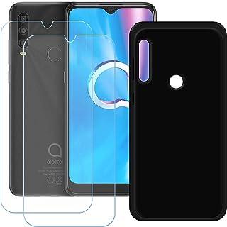 TTJ Svart skal till Alcatel 1SE 2020 [2 stycken] HD pansarglas, mobiltelefonfodral silikon skyddande hölje TPU fodral mobi...