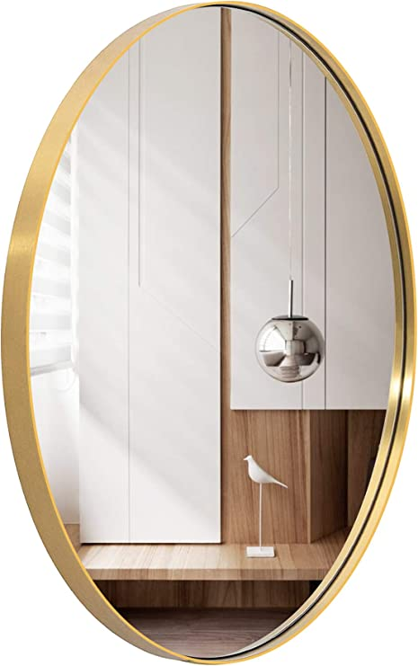 Amazon Com Oval Wall Mirror For Bathroom 24 X36 Large Modern Bathroom Mirror With Gold Metal Frame Wall Mount Mirror Hangs Horizontal Or Vertical Home Kitchen