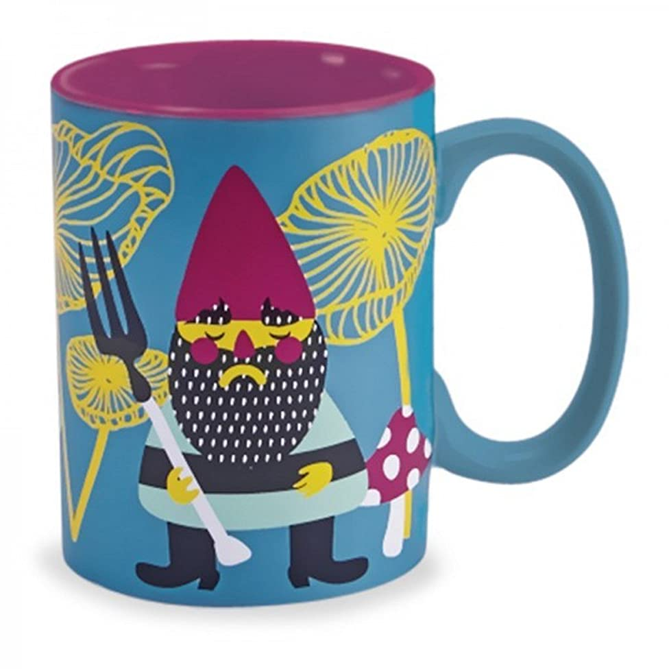 Blue Garden Gnome 16 Oz Ceramic Coffee Mug