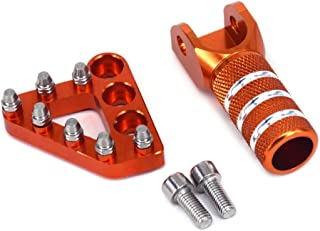 JFG RACING Orange CNC Rear Brake Pedal Step Plate + Gear Shifter Shift Lever Tip For 125-530 SX EXC XCF XC XCW SXF SMR 2004-2010 Enduro Supermotor 690 DUKE Adventures
