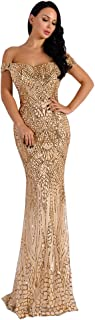 Women's V Neck Sequined Prom Banquet Party Maxi Dress