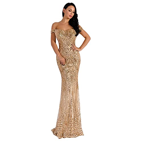 e2a344f3ba5a Miss ord Women's V Neck Sequined Prom Banquet Party Maxi Dress