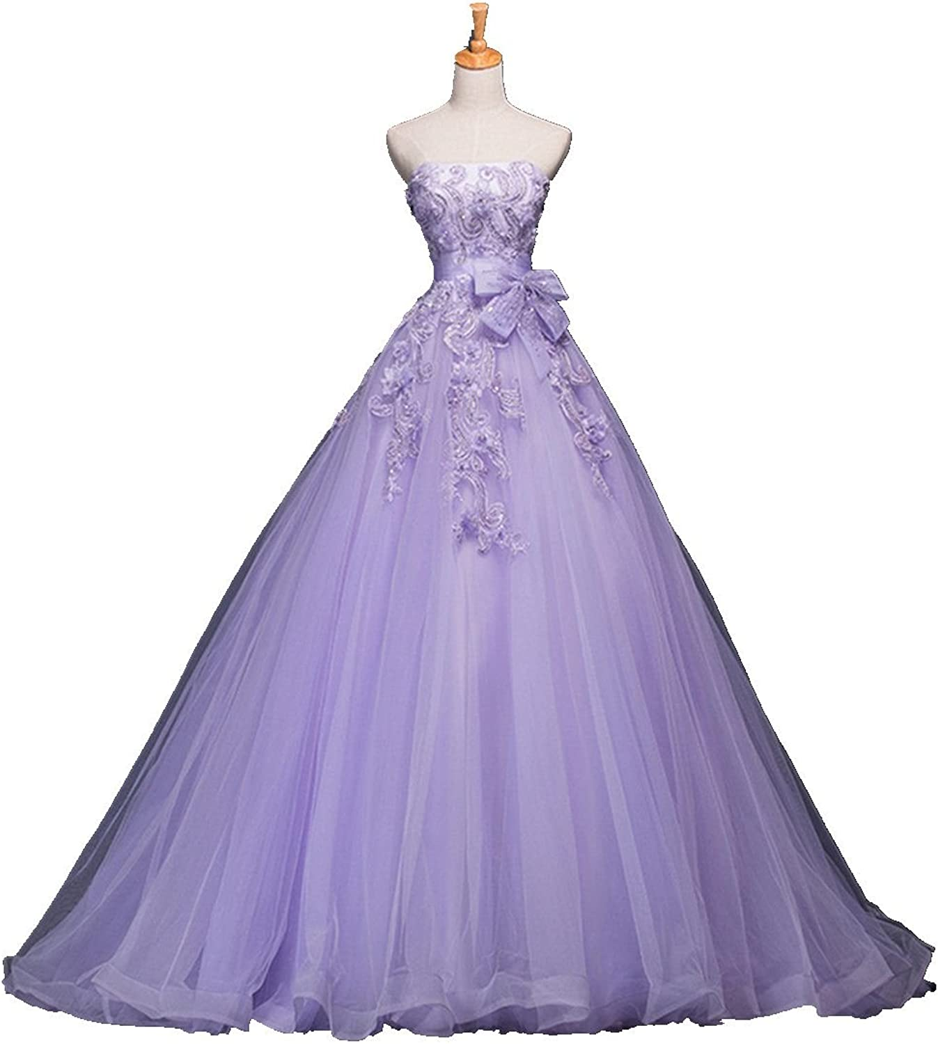 Fanciest Women's Strapless Appliques Tulle Ball Gowns Quinceanera Dresses for Prom Lavender