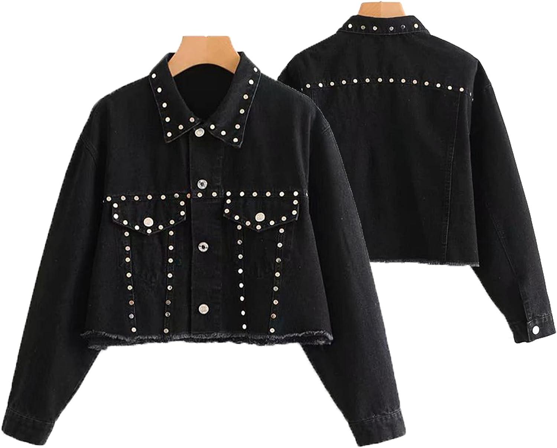 HDHXT Women's Distressed Frayed Jean Jacket Fashionable Short Ripped Women's Distressed Jacket Sexy Short Ripped Denim Jacket