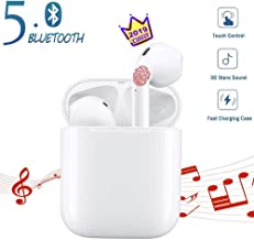 Hands Free Earphone Bluetooth Headphones Wireless Pops-up Earbuds Cordless Headset with Built-in Microphone for Apple iPad iPhone iOS/Android Devices