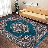 Vram Floral Carpet (Sky Blue, Velvet, 5 X 7 Feet)
