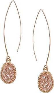Humble Chic Simulated Druzy Needle Drops - Gold-Tone Threader Upside-Down Hoop Dangle Earrings for Women