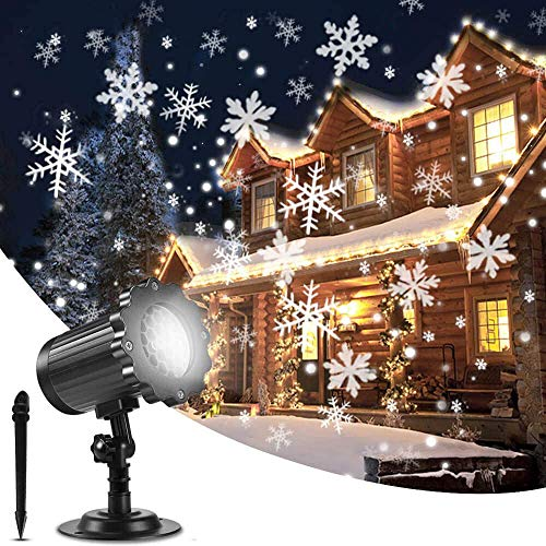 Proiettore Luci LED Natale, Proiettore Luci Natale Esterno Effetto Fiocco di Neve Proiezione Lampada LED Impermeabile Illuminazione Giardino Rotante Faretti per Natale