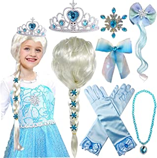پرنسس السا کلاه گیس یخ زده السا برید با دستکش گردنبند پرنسس تیارا شاهزاده خانم السا لباس لباس لوازم جانبی Cosplay برای دختران کودک