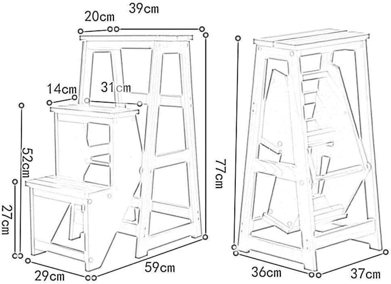 Escabeau Ménage 3 Escabeau Tabouret Pliant échelle en Bois d'intérieur à Double Usage d'escalier Ascendant Chaise Tabouret Banc en Bois chaises Pliantes (Color : White) Brown