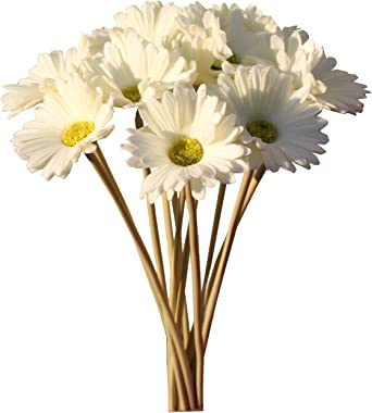 """Mandy's 12pcs White Artificial Latex Gerbera Daisies Flowers 15"""" PU for Home Kitchen & Wedding Decorations (vase"""