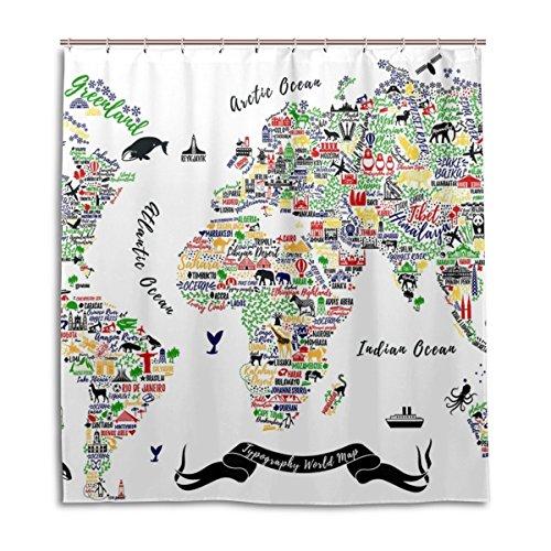 jstel Decor Duschvorhang Weltkarte Poster, reise, Städte & Sightseeing Att Muster Print 100prozent Polyester Stoff 167,6x 182,9cm für Home Badezimmer Deko Dusche Bad Vorhänge mit Kunststoff Haken