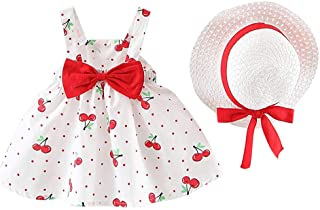 FWEIP Toddler Baby Kids Girls Sleeveless Cherry Dot Princess Dresses Bow Hat Outfits