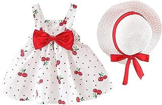 WOCACHI Baby Girls Skirt Set, Newborn Lemon Bow Strap Princess Party Casual Dresses with Sun Hats