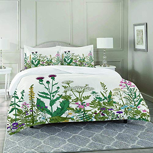 REFINE Juegos de Fundas para edredon,Ropa de Cama,Flowers and Leaves in a Spring Garden with Daisies Roses Hydrangeas Artwork,Fibrae Xtrafina,Edredones y 2 Almohadas