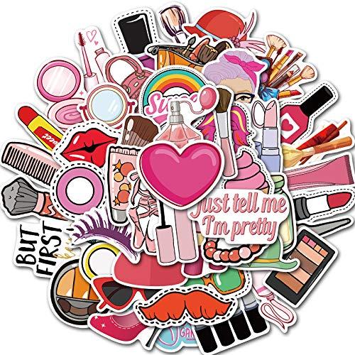 RUIRUI 50 Bolsas de Caja de cosméticos para Chicas Lindas, Maletas con Ruedas para Equipaje, Pegatinas de Graffiti para portátiles