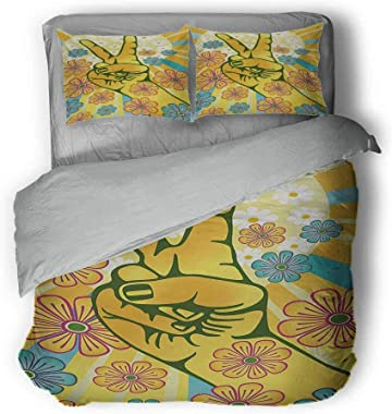 """Groovy Three-Piece College Style Hand Gesturing Symbol of Peace with Flowers and Sunbeams Funky Modern Art Light Comforter Queen 68""""x86""""inch Yellow Blue Pink"""