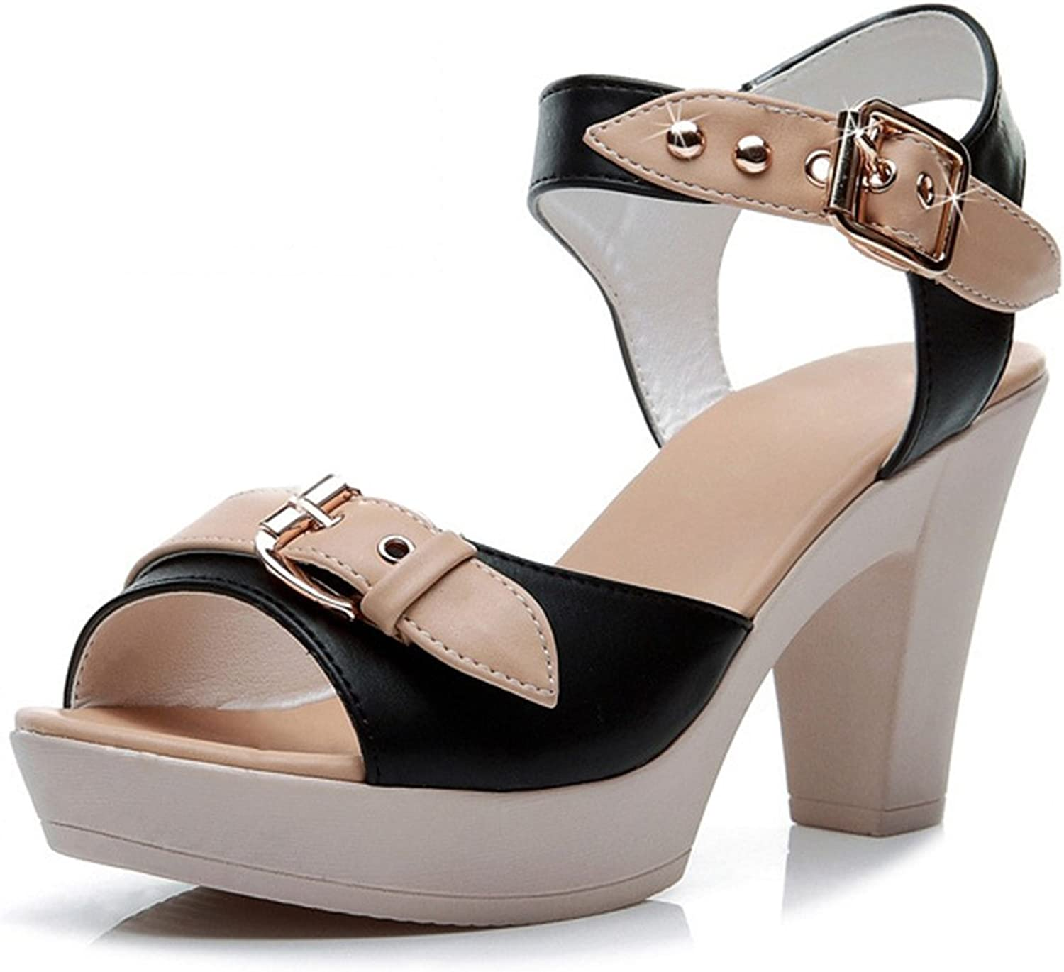 Womens Sandals Mixed colors Leather Buckle Strap Open Toe Square Heel High Heels