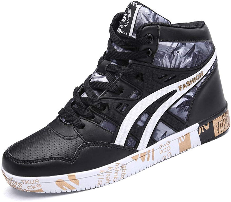 ZHRUI Men Sneaker Casual shoes Hip Hop High Top Print Mens Flat Autumn Winter PU Leather shoes (color   Black gold, Size   5.5 UK)