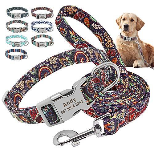 Beirui Juego de collar y correa de nailon personalizados, collares de estilo étnico suaves para perros pequeños, medianos y grandes, con hebilla ligera, L, jardín morado