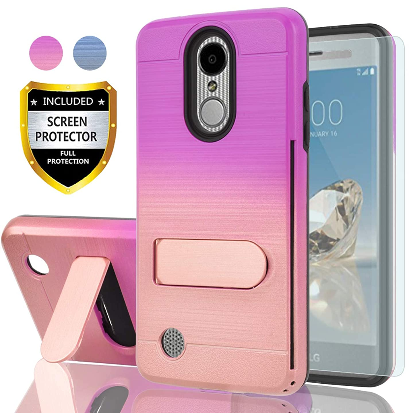 AYMECL LG Aristo Case(MS210),LG K8 2017 Case,Risio 2/Rebel 2 LTE/Phoenix 3/LG Fortune Case with HD Screen Protector,[Card Slots Holder] TPU Gradient Color Case for LG LV3-GC Purple&Rose Gold
