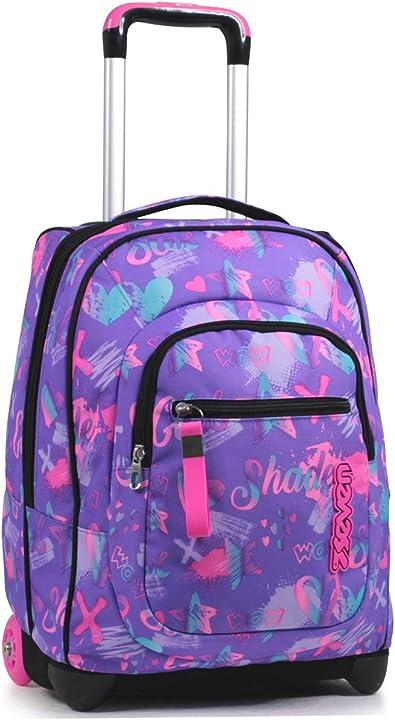 trolley scuola seven flying dreams nero 2 in 1 zaino con cross-over system scuola & viaggio 201002093-390