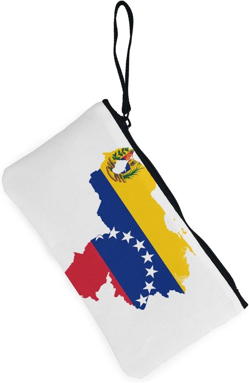 AORRUAM Venezuela Flag Map Canvas Coin Purse,Canvas Zipper Pencil Cases,Canvas Change Purse Pouch Mini Wallet Coin Bag