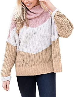 Knit Sweater for Women Turtleneck Sweaters Cowl Neck Color Block Long Sleeve Winter Knit Pullover Tops