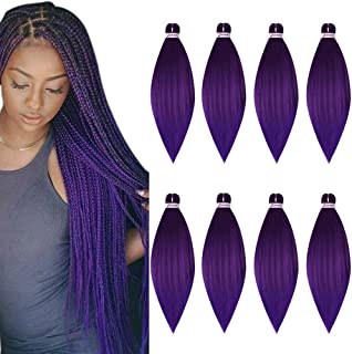 Pre Stretched Braiding Hair 8 Pack/Lot Braids 26 Inch Long Itch Free Hot Water Setting Yaki Texture Synthetic Fiber Crochet Purple Braiding Hair Extension (26'', Purple Color)