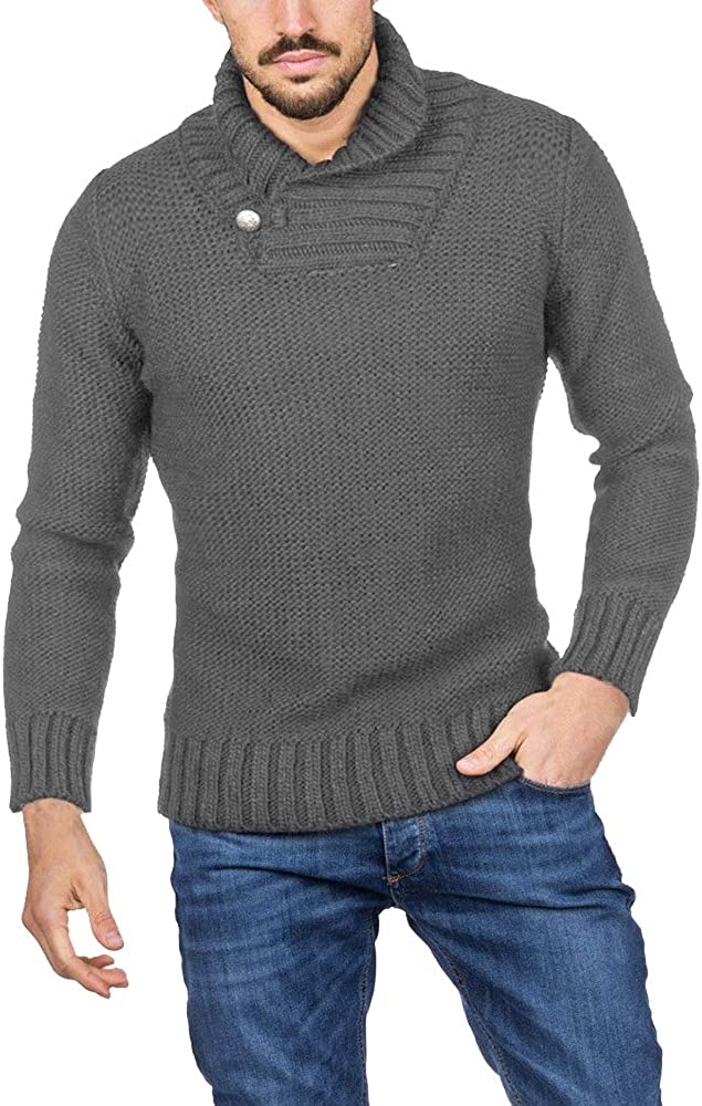 Hestenve Mens Sweaters Shawl Collar Slim Fit Fall Winter Casual Knit Ribbed Pullover Sweater