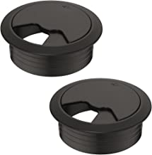 Gedotec Kabeldurchführung Schreibtisch Kunststoff TABLE rund | Kabeldurchlass schwarz | Kabelführung zum Eindrücken | Kabeldose Bohr-Ø 60 mm | Kabelausgang für Büromöbel, Tisch, Wohnmobil | 2 Stück