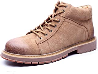 SHENYUAN Men's Motorcycle Combat Boots Ankle Boot Lace up Genuine Leather Non-slip Round Toe Lug Sole Classic Outdoor Vegan Flat Work or Casual Wear (Color : Grey, Size : 40 EU)