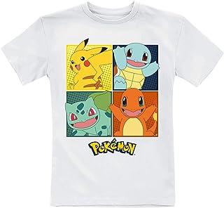 Pokémon Partenaire Unisexe T-Shirt Blanc 110/116, 100% Coton,