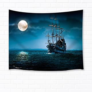 Shocur Sea Tapestry, Moon and Retro Ship Tapestry Beautiful Ocean Night Tapestry, Wall Hanging Art for Living Room Bedroom Home Decor, 51 X 59 Inches with Pins