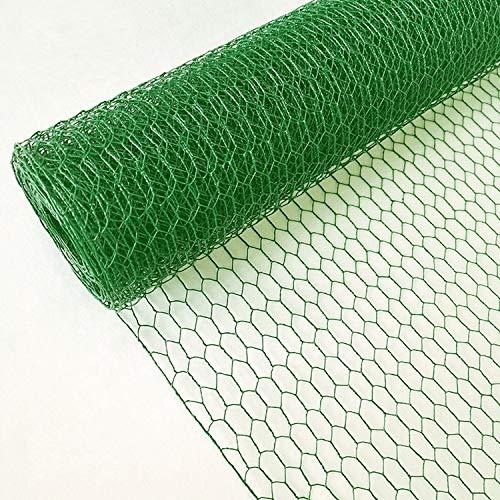 EXCOLO Sechseckdraht grün Volieren Draht Hasendraht Drahtzaun Kaninchendraht Maschendraht verzinkt und grün beschichtet (Höhe 50cm, Länge 10m, Weite 25mm)
