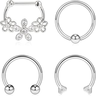 4PCS 16G Surgical Steel Clear CZ Flower Nose Hoop Septum Ear Daith Tragus Clicker Rings Retainer Body Piercing Jewelry