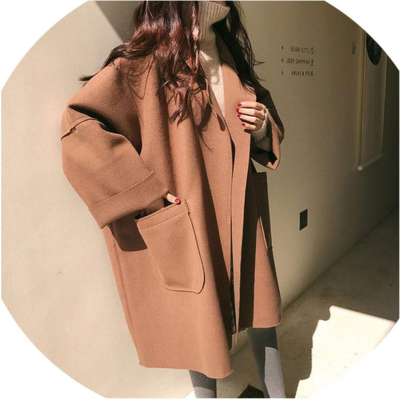 Blends for Women Solid Pockets Long TurnDown Collar AllMatch Coats Womens Korean Style Plus Size,Camel,XL