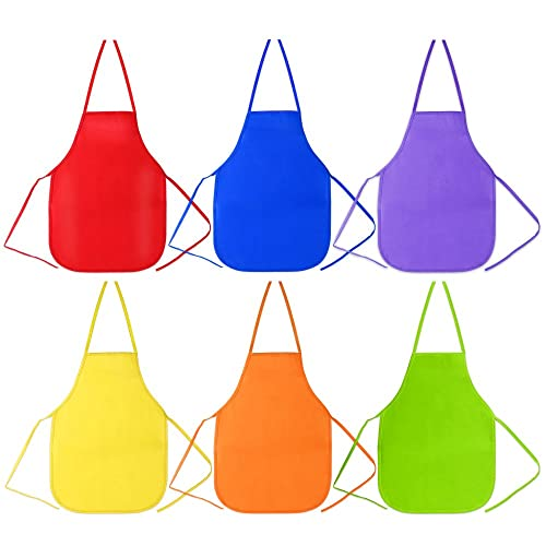7543922c94a Pllieay 6 Pieces 6 Colors Kids Artist Apron 33 x 48cm Children s Artists  Fabric Aprons for