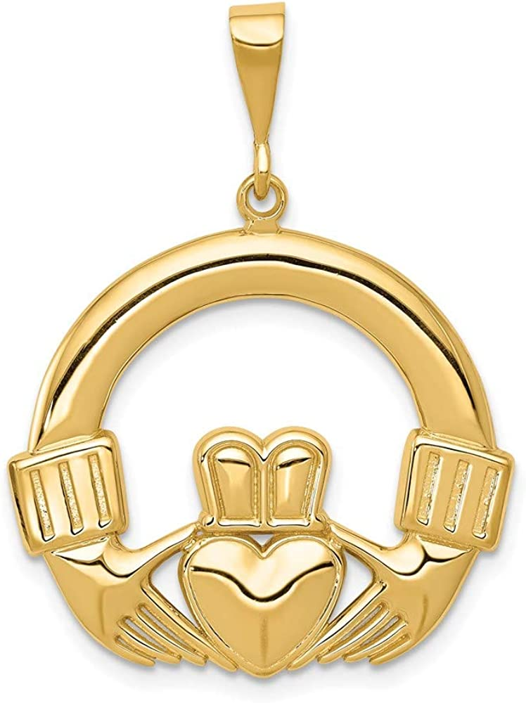 14k Yellow Gold Irish Claddagh Celtic Knot Pendant Charm Necklace Fine Jewelry For Women Gifts For Her