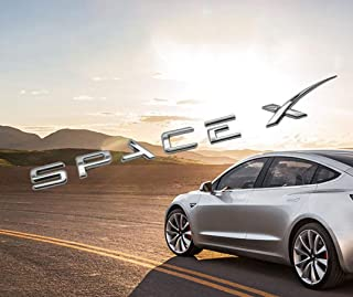 Spacex Decals 3D Metal Car Rear Trunk Emblem Sticker Badge Decals Compatible Tesla Model S Model 3 Model X Decorative Accessories